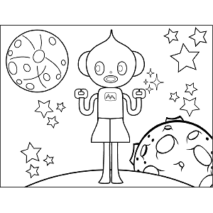 Space Alien Girl coloring page