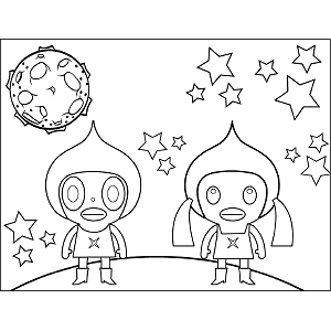 Space Alien Girls coloring page
