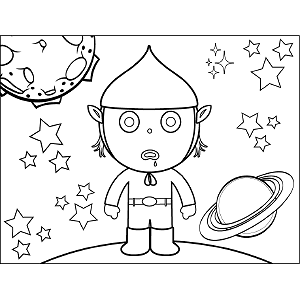 Space Alien Hat coloring page
