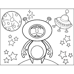 Space Alien Holding Breath coloring page