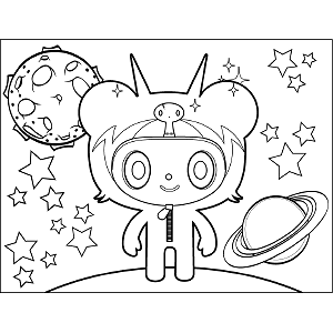 Space Alien Horn coloring page
