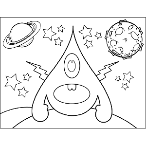 Space Alien Lightning Bolts coloring page