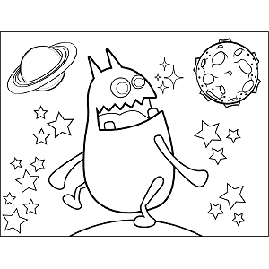 Space Alien Looks Over Shoulder coloring page