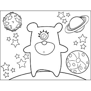 Space Alien One-Eyed Teddy Bear coloring page
