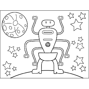 Space Alien Six Arms coloring page