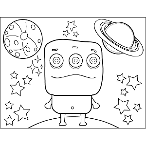 Space Alien Square Head coloring page