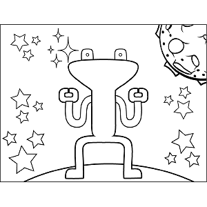 Space Alien Squat coloring page