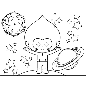 Space Alien Teardrop Head coloring page