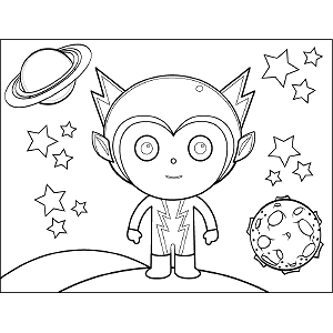Space Alien Zig Zag coloring page