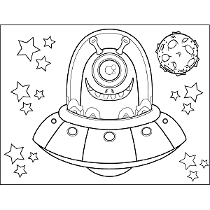 Space Alien in Flying Saucer coloring page