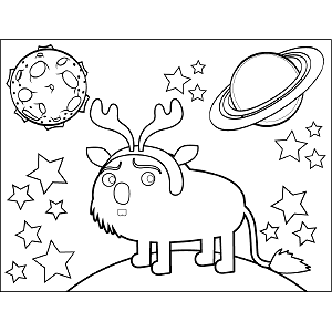Space Alien with Antlers coloring page