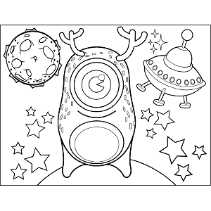 Space Alien with Big Antlers coloring page