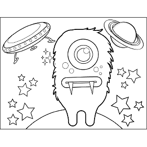 Space Alien with Fangs coloring page