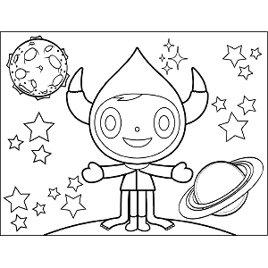 Space Alien with Four Legs coloring page