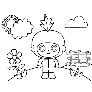 Space Alien with Googly Eyes coloring page
