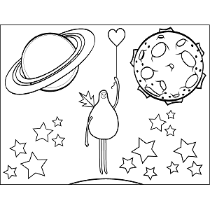 Space Alien with Heart coloring page
