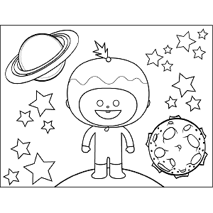 Space Alien with Helmet coloring page