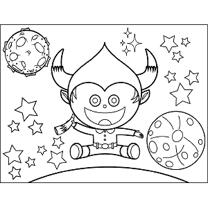 Space Alien with Horns coloring page