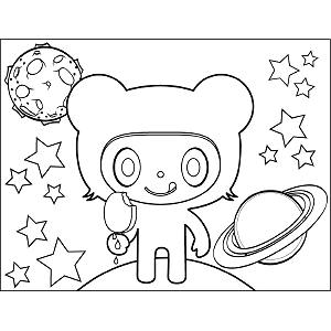 Space Alien with Ice Cream coloring page