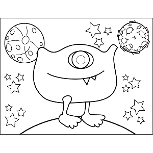Space Alien with One Eye coloring page