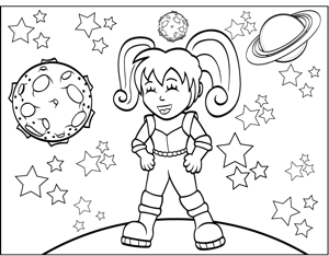 space girl coloring page - Outer Space Coloring Pages