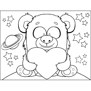 Space Monster Holding Heart coloring page