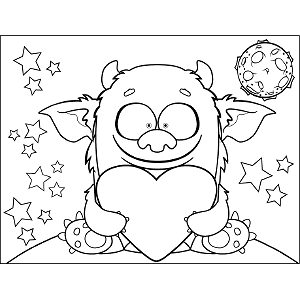 Space Monster with Heart coloring page
