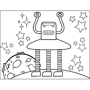 Space Robot Three Legs coloring page