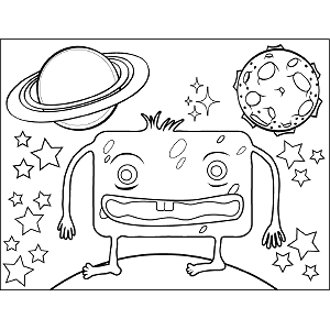 Square Space Alien coloring page