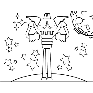 Tall Space Robot coloring page