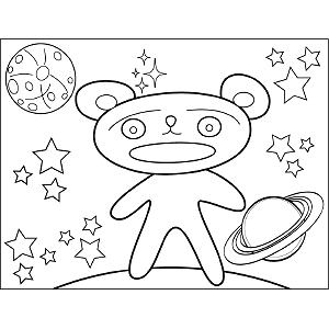 Teddy Bear Space Alien coloring page