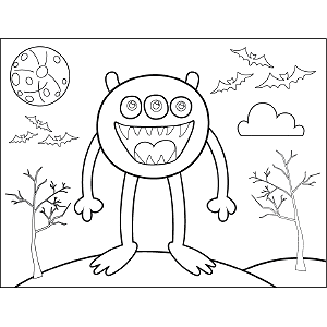 Three-Eyed Monster coloring page