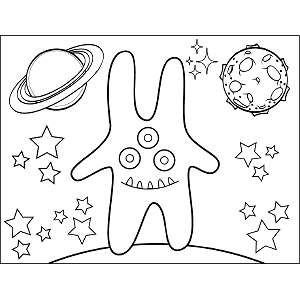 Three-Eyed Space Alien coloring page