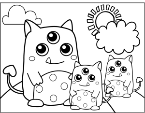Three Eyed Monsters coloring page