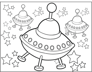 UFOs coloring page