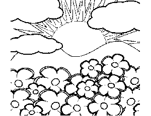 Sun Shining on Flowers Coloring Page