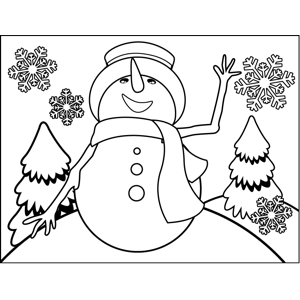 Happy Snowman coloring page