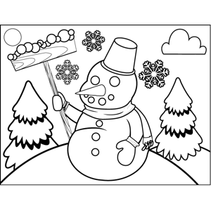 Snowman in Mittens coloring page