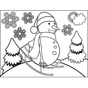 Snowman on Sled coloring page