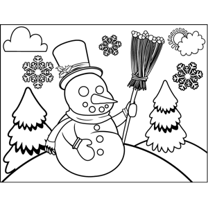 Snowman with Broomstick coloring page