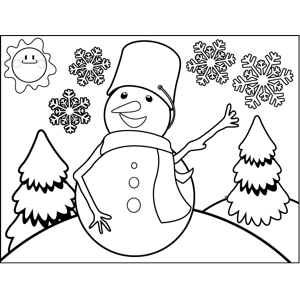Snowman with Bucket Hat coloring page
