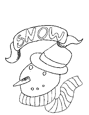 Snowman with Label Coloring Page