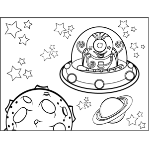 Alien Flying Through Space coloring page
