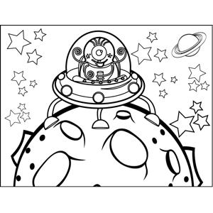 Alien Landing on Asteroid coloring page
