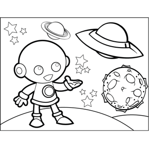 Alien and Spaceship coloring page
