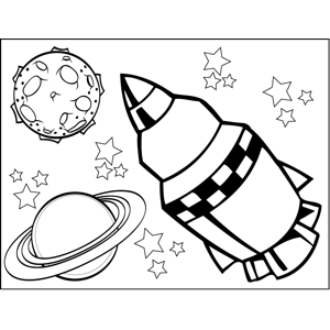 Checkered Spaceship coloring page