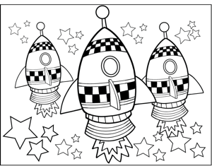 Cute Rocketships coloring page