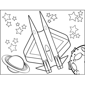 Double Rocket Spaceship coloring page