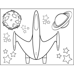 Floating Spaceship coloring page