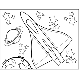 Planets and Rocketship coloring page